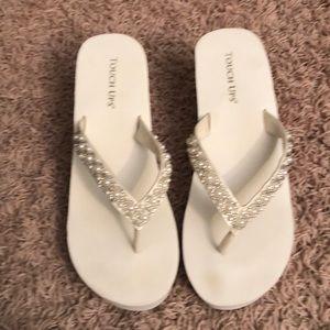 White bridal flip flops